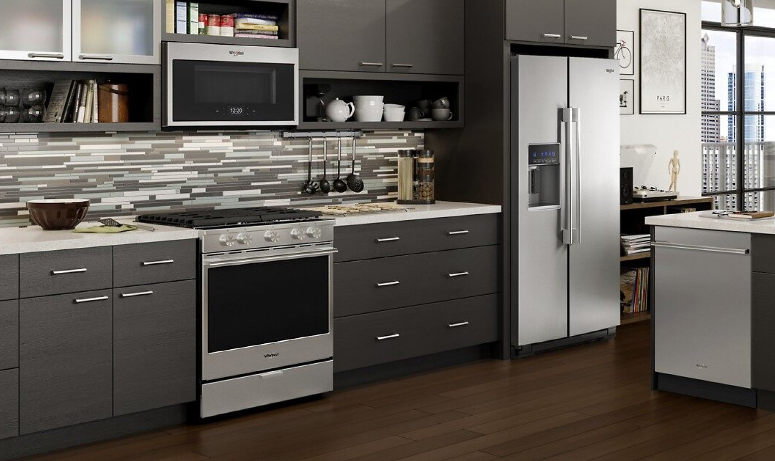 A kitchen with a slide-in range
