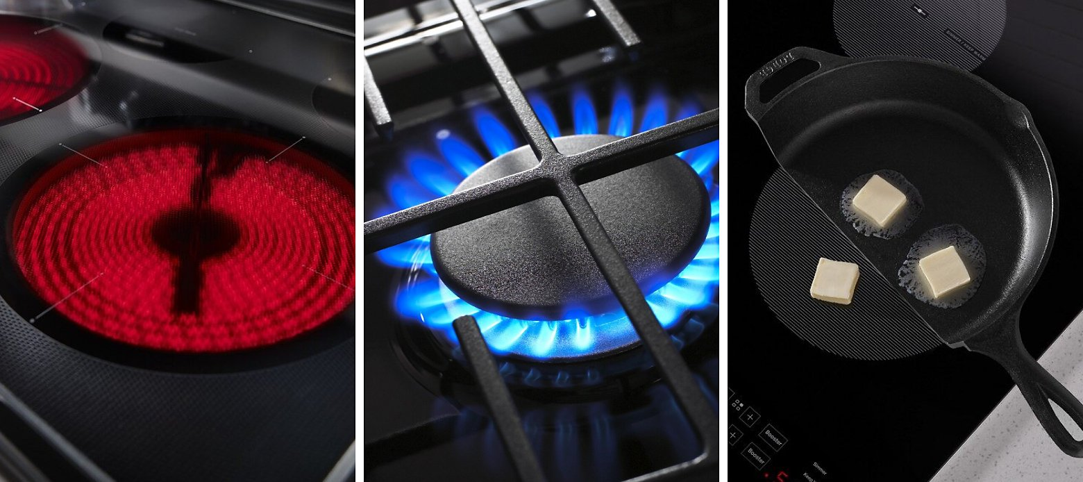 Close ups of a gas burner, an electric radiant element and half of a cast-iron pan with butter on an induction element