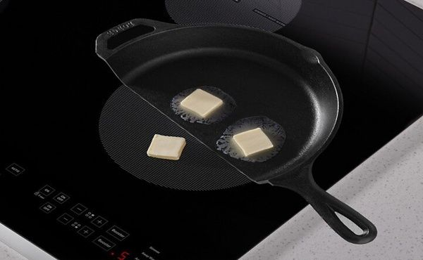 Butter melting in pan on induction cooktop