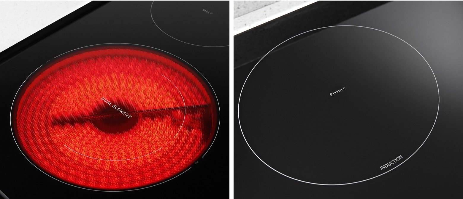 Electric cooktop element next to an induction cooktop element
