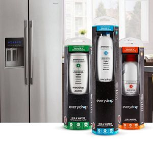 Three everydrop® filters lined up against a kitchen backdrop