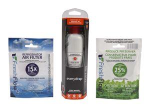 everydrop® Refrigerator Water Filter 2 - EDR2RXD1 (Pack of 1) + Refrigerator FreshFlow™ Air Filter + FreshFlow Produce Preserver Refill