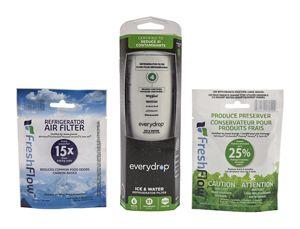 everydrop® Refrigerator Water Filter 4 - EDR4RXD1 (Pack of 1) + Refrigerator FreshFlow™ Air Filter + FreshFlow Produce Preserver Refill