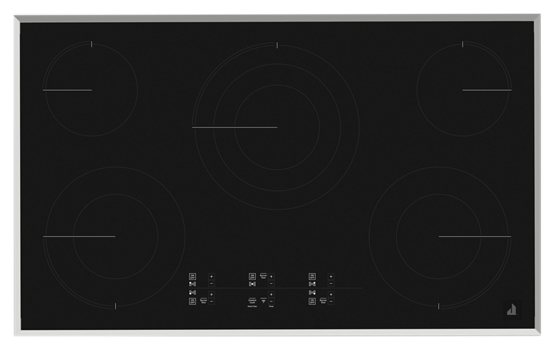 "Lustre Stainless 36"" Electric Cooktop with Glass-Touch Electronic Controls"