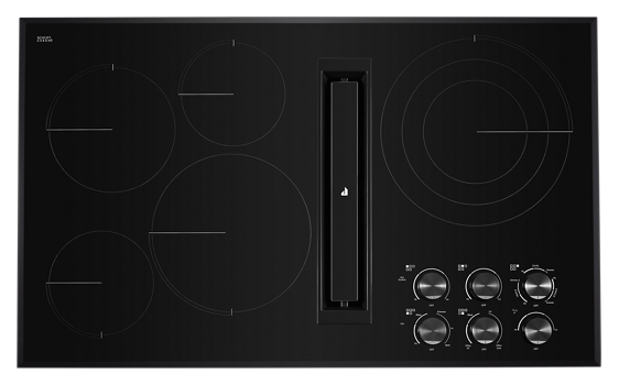 "Black Floating Glass 36"" JX3™ Electric Downdraft Cooktop"