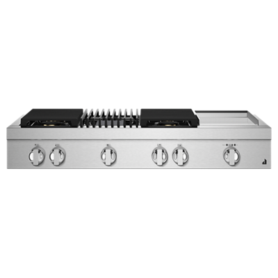 "NOIR™ 48"" Gas Professional-Style Rangetop with Chrome-Infused Griddle and Grill"