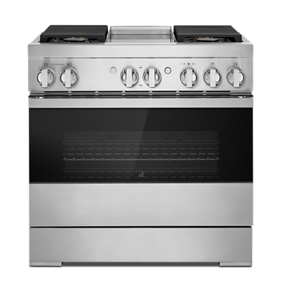 "NOIR™ 36"" Dual-Fuel Professional Range with Chrome-Infused Griddle"
