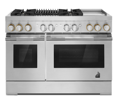 "RISE™ 48"" Dual-Fuel Professional-Style Range with Chrome-Infused Griddle and Grill"