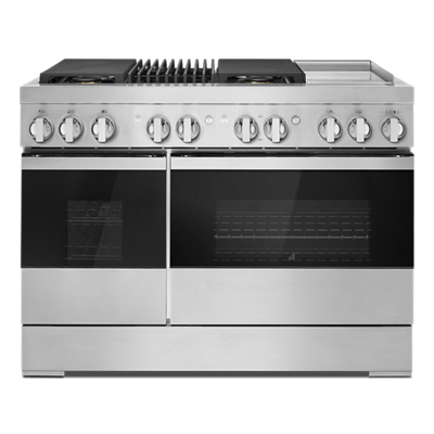 "NOIR™ 48"" Dual-Fuel Professional-Style Range with Chrome-Infused Griddle and Grill"