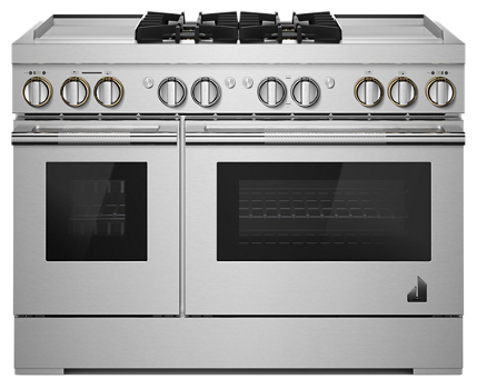 "RISE™ 48"" Dual-Fuel Professional Range with Dual Chrome-Infused Griddles"