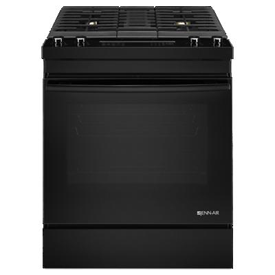 "Black Floating Glass30"" Dual-Fuel Downdraft Range"