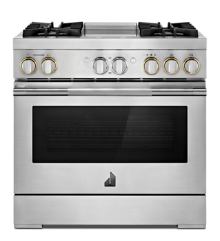 "RISE™ 36"" Dual-Fuel Professional Range with Chrome-Infused Griddle and Steam Assist"
