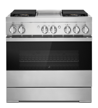 "NOIR™ 36"" Dual-Fuel Professional-Style Range with Chrome-Infused Griddle and Steam Assist"