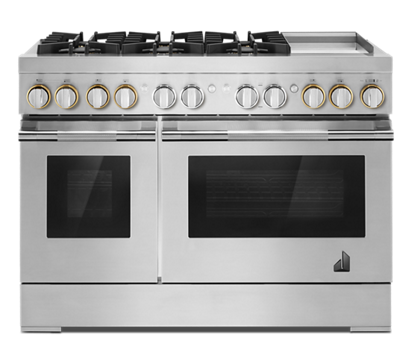 "RISE™ 48"" Dual-Fuel Professional-Style Range with Chrome-Infused Griddle and Steam Assist"