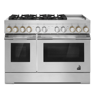 """RISE™ 48"""" Dual-Fuel Professional-Style Range with Chrome-Infused Griddle and Steam Assist"""