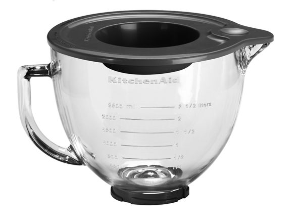 Image of 4.7 L Tilt-Head Glass Bowl with Measurement Markings & Lid