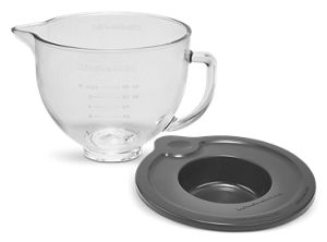 5 Quart Tilt-Head Glass Bowl with Measurement Markings & Lid