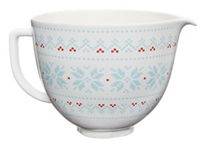5 Quart Patterned Ceramic Bowl - Holiday sweater cross stitch