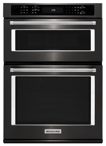 Black Stainless 27 Combination Wall Oven With Even Heat True Convection Lower Koce507ebs Kitchenaid