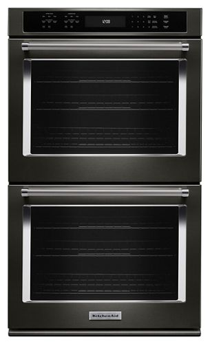 black stainless 27 double wall oven with even heat true convection