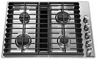 Table de cuisson au gaz à évacuation descendante, 4 brûleurs, 30 po
