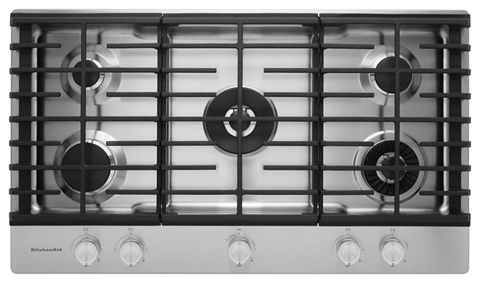 Stainless Steel 36 5 Burner Gas Cooktop With Griddle Kcgs956ess Kitchenaid
