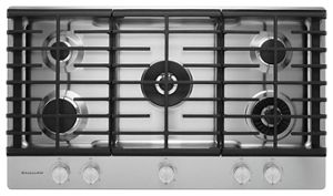 Superbe Stainless Steel 36u0027u0027 5 Burner Gas Cooktop With Griddle KCGS956ESS |  KitchenAid