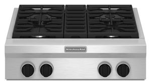 30-Inch 4-Burner Gas Rangetop, Commercial-Style