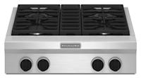 Table de cuisson au gaz 30 po, style commercial, KitchenAid®, 4 brûleurs