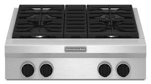 Stainless Steel 30 Inch 4 Burner Gas Rangetop, Commercial Style KGCU407VSS  | KitchenAid