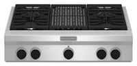 36-Inch 4-Burner with Grill, Gas Rangetop, Commercial-Style