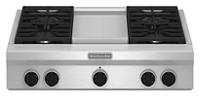 Table de cuisson au gaz de 36 pouces de style commercial dotée de 4 brûleurs et d'une plaque chauffante