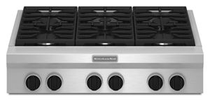 Stainless Steel 36 Inch 6 Burner Gas Rangetop, Commercial Style KGCU467VSS  | KitchenAid