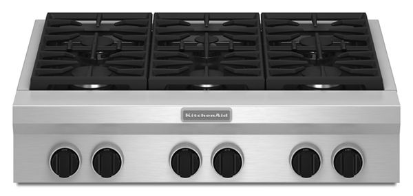 KitchenAid® 36-Inch 6 Burner Gas Rangetop, Commercial-Style