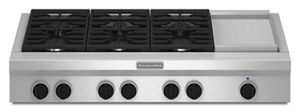 48-Inch 6 Burner with Griddle, Gas Rangetop, Commercial-Style