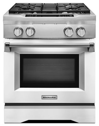 Imperial White 30 4 Burner Dual Fuel Freestanding Range Commercial Style Kdrs407vmw Kitchenaid