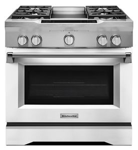 Imperial White 36u0027u0027 4 Burner With Griddle, Dual Fuel Freestanding Range,  Commercial Style KDRS463VMW | KitchenAid