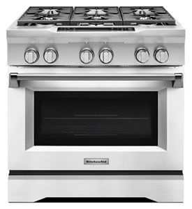 Bon Imperial White 36u0027u0027 6 Burner Dual Fuel Freestanding Range, Commercial Style  KDRS467VMW   KitchenAid