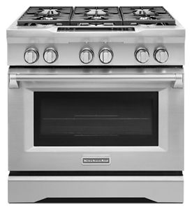 Stainless Steel 36u0027u0027 6 Burner Dual Fuel Freestanding Range,  Commercial Style KDRS467VSS | KitchenAid
