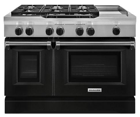 imperial black 48 6 burner with griddle dual fuel freestanding