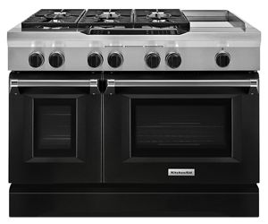 Merveilleux Imperial Black 48u0027u0027 6 Burner With Griddle, Dual Fuel Freestanding Range,  Commercial Style KDRS483VBK | KitchenAid