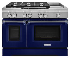 Cobalt Blue 48u0027u0027 6 Burner With Griddle, Dual Fuel Freestanding Range,  Commercial Style KDRS483VBU | KitchenAid