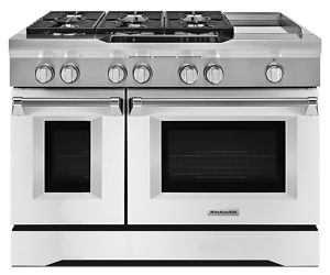 Imperial White 48u0027u0027 6 Burner With Griddle, Dual Fuel Freestanding Range,  Commercial Style KDRS483VMW | KitchenAid