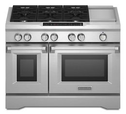 Stainless Steel 48'' 6-Burner with Griddle, Dual Fuel Freestanding Range, Commercial-Style KDRS483VSS | KitchenAid