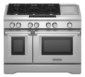 Stainless Steel 48u0027u0027 6 Burner With Griddle, Dual Fuel Freestanding Range,  Commercial Style KDRS483VSS | KitchenAid