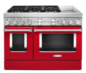 Cuisinière commerciale intelligente bicombustible KitchenAid® avec plaque chauffante, 48 po