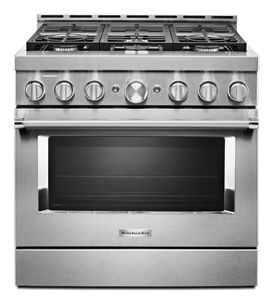 Cuisinière commerciale intelligente au gaz KitchenAid®, 6 brûleurs, 36 po