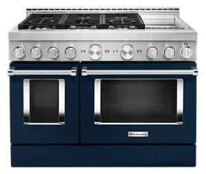 Cuisinière commerciale intelligente au gaz KitchenAid® avec plaque chauffante, 48 po