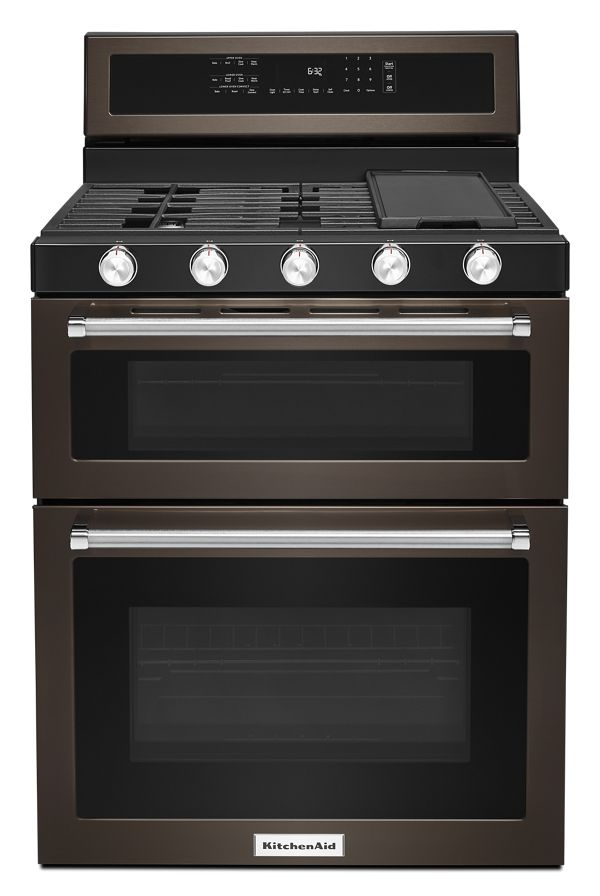 Image of KitchenAid® 30-Inch 5 Burner Gas Double Oven Convection Range