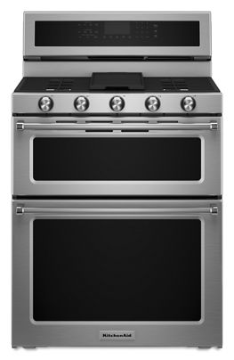 stainless steel 30 inch 5 burner gas double oven convection range